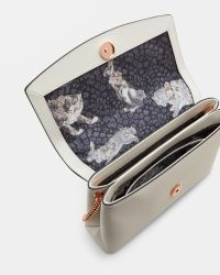 Ted Baker White Curved Bow Leather Cross Body Bag
