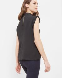 Ted Baker | Black Pleated Trim Top | Lyst