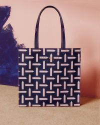 Ted Baker Blue Pencil Print Shopper Bag