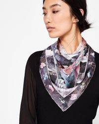 Ted Baker Gray Mirrored Minerals Silk Square Scarf
