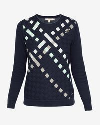 Ted Baker Blue Woven Front Cotton Jumper