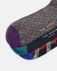 Ted Baker | Blue Organic Cotton-blend Sock Set for Men | Lyst