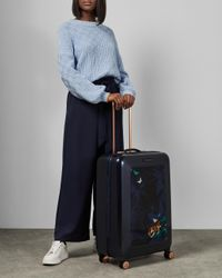 Ted Baker Blue Houdinii Print Medium Suitcase