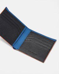 Ted Baker - Blue Rubber-look Leather Bi-fold Wallet for Men - Lyst