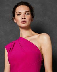 Robe Asymétrique Plissée Ted Baker en coloris Pink