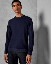 Ted Baker Blue Garment-dyed Wool Jumper for men