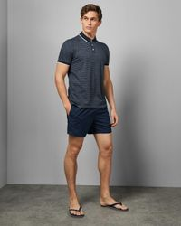 Ted Baker Blue Cotton Striped Polo Shirt for men