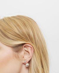 Ted Baker - Gray Drop Pearl Earrings - Lyst
