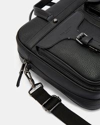 Ted Baker Black Forsee Leather Document Bag for men