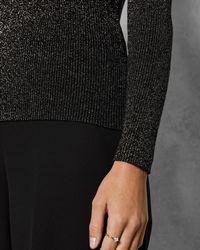 Ted Baker - Lizziia Bow-detail Metallic Sweater - Lyst