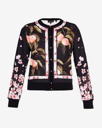 Ted Baker Black Peach Blossom Woven Bomber Jacket