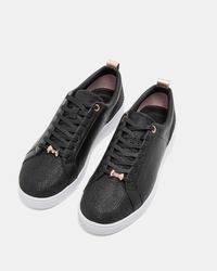 Ted Baker Black Leather Glitter Tennis Trainers