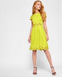 Ted Baker Yellow Embroidered Skater Dress