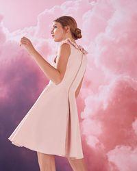 Ted Baker Pink Ruffle V-neck Cotton-blend Skater Dress