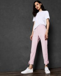 Ted Baker Purple Bow Cuff Ankle Grazer Trousers