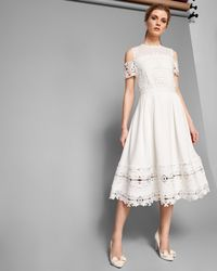 Ted Baker White Structured Lace Midi Dress