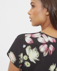 Ted Baker - Black Kensington Floral Fitted Tee - Lyst
