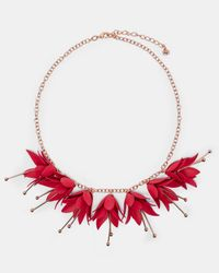 Ted Baker - Red Fawna Floral Drop Necklace - Lyst