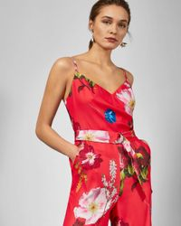Ted Baker Red Piiper Wrap Jumpsuit In Berry Sundae