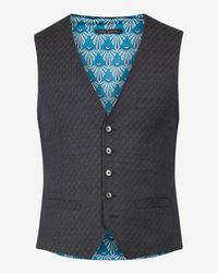 Ted Baker Blue Geo Skinny Fit Wool Waistcoat for men