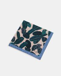 Ted Baker - Pink Leaf Print Silk Pocket Square for Men - Lyst
