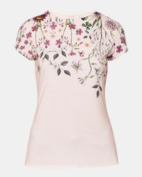 Ted Baker | Pink Unity Floral Fitted T-shirt | Lyst