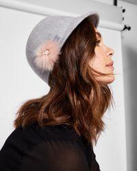 Ted Baker - Gray Faux Fur Pom-pom Hat - Lyst