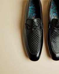 Ted Baker Black High Shine Embossed Leather Shoes for men
