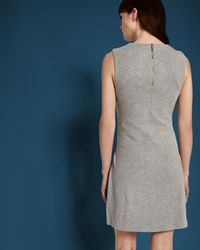 Ted Baker - Gray Tie Front Dress - Lyst