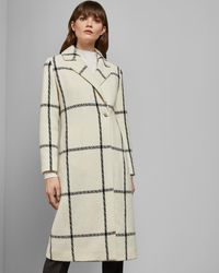 Ted Baker White Checked Wool Long Coat