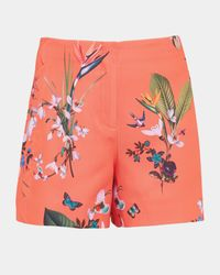 Ted Baker Red Tropical Oasis Scallop Detail Shorts