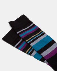 Ted Baker - Black Stripe Sock for Men - Lyst