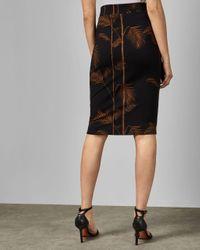 Ted Baker Black Bodycon-kleid Aus Jersey Mit Caramel-print
