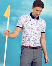 Ted Baker White Golf Club Print Polo Shirt for men