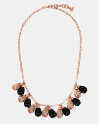 Ted Baker - Black Mini Plissé Drop Necklace - Lyst