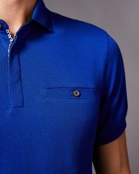 Ted Baker - Blue Witnay Textured Cotton Polo Shirt for Men - Lyst