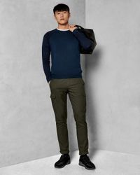 Ted Baker Blue Space Dye Crew Neck Jumper for men