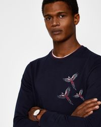 Ted Baker Blue Embroidered Cotton Sweatshirt for men