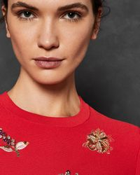 Ted Baker - Red Tynna Embellished Sweater - Lyst