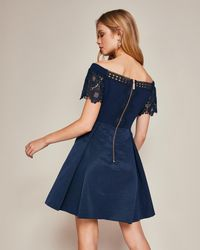 Ted Baker Blue Lace Trim Bardot Dress