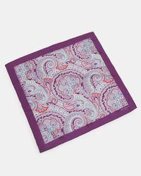 Ted Baker - Purple Paisley Silk Pocket Square for Men - Lyst