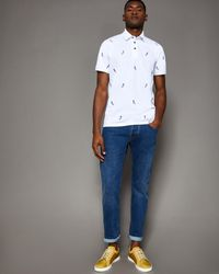 Ted Baker White Cockatoo Embroidered Cotton Polo Shirt for men