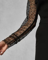 Ted Baker - Black Lace Frill Bodice Jumpsuit - Lyst