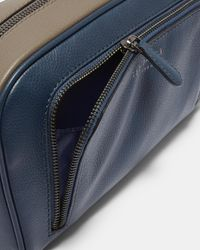 Ted Baker - Blue Leather Colour-block Wash Bag for Men - Lyst