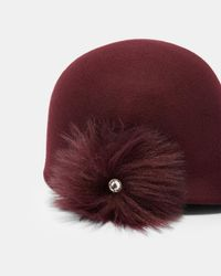 Ted Baker - Red Faux Fur Pom-pom Hat - Lyst