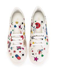 Anya Hindmarch White All Over Wink Stickers Tennis Shoe
