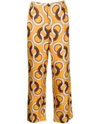 F.R.S For Restless Sleepers Yellow Silk Geometric-print Trousers