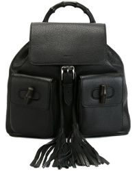 Gucci | Black Bamboo Backpack | Lyst