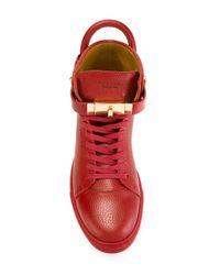 Buscemi   Red High Top Leather Sneakers   Lyst