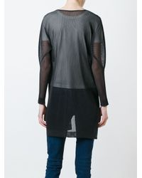 "Pleats Please Issey Miyake Black Round Neck Sweatshirt ""ring"" Effect"